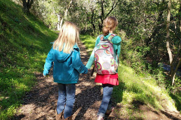 Kids Hiking and Holding Hands