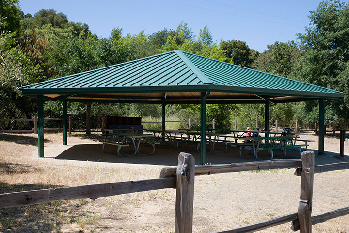 Picnic tables under a pavilion