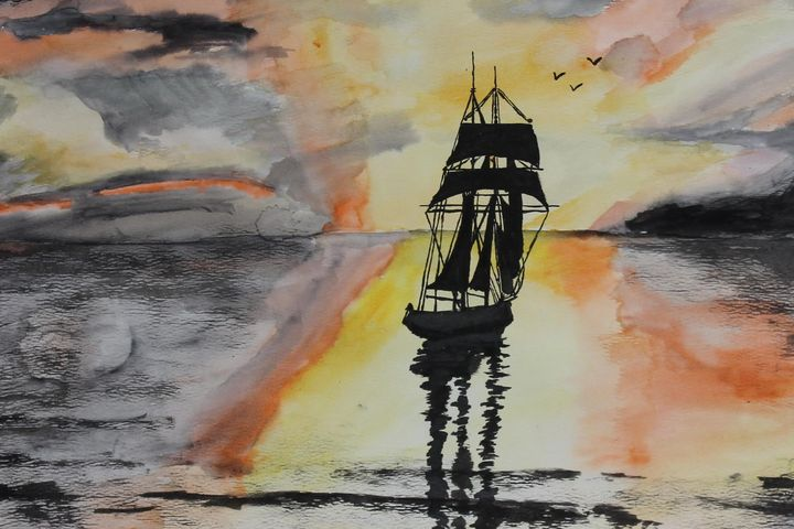 Watercolor Ship at Sea
