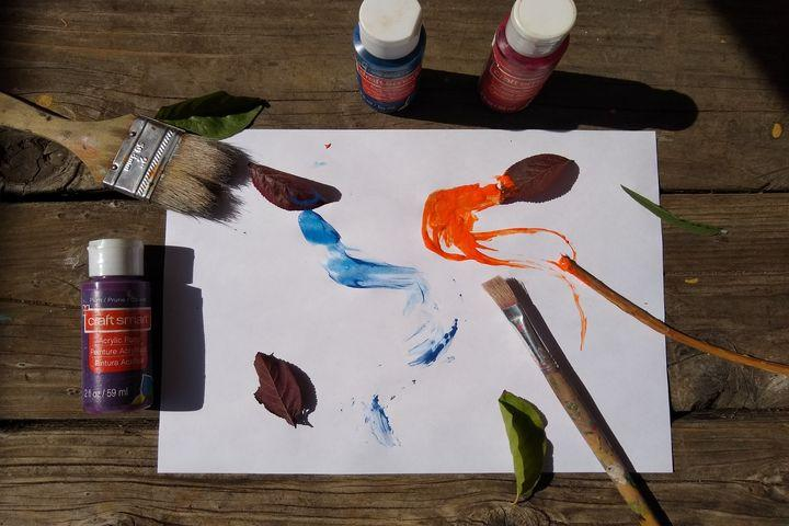 Painting Supplies with Leaves