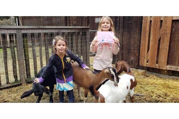 Kids with Goats and Thank You Notes